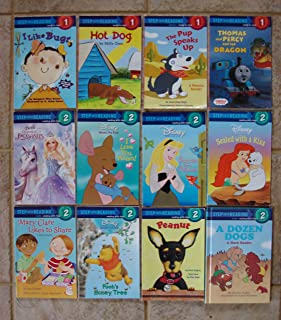 Set of 12 Step Into Reading Levels 1-2 (Thomas Percy & Dragon ~ I Like Bugs ~ Hot Dog ~ Pup Speaks Up ~ Peanut ~ Surprise for a Princess ~ Sealed With Kiss ~ Barbie Magic Pegasus ~ Winnie Pooh I Love You Mama ~ Pooh's Honey Tree ~ Mary Clare Likes to Share (Math) ~ Dozen Dogs (Math))