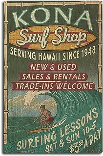 Lantern Press Kona, Hawaii - Surf Shop Vintage Sign (10x15 Wood Wall Sign, Wall Decor Ready to Hang)