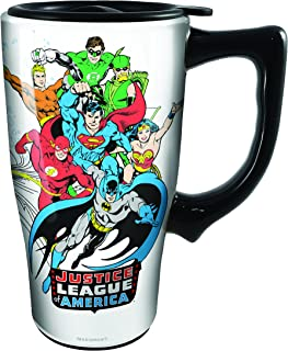 Spoontiques 12793 Justice League Ceramic Travel Mug, White