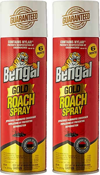 Bengal Roach Killer 11 Oz Can Viscous Liquid Brown Mild Ethereal Spray 2 Pack