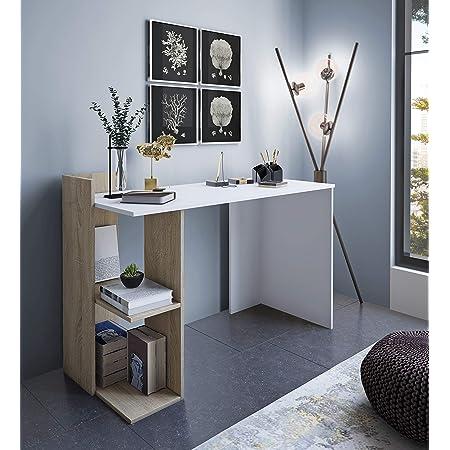 Home Heavenly® - Escritorio, Mesa despacho, Oficina Tokyo Estilo Minimalista, Industrial, Mueble multifunción 2 en 1 con cómoda estantería y Amplia ...