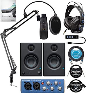 PreSonus AudioBox Studio Ultimate Bundle with Blucoil Boom Arm Plus Pop Filter, USB Hub Type-A, 10-FT Straight Instrument Cable (1/4in), 10-FT Balanced XLR Cable, and 3' USB Extension Cable