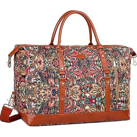 BAOSHA Handgepäck Reisetasche Sporttasche Weekender Tasche für Kurze Reise am Wochenend Urlaub Arbeitstasche HB-14 (Blumendruck)