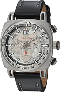 Ritmo Mundo Racer Stainless Steel Swiss-Quartz Watch with Leather Calfskin Strap, Black, 22 (Model: 2221/14)