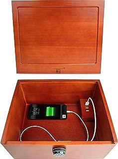 Blake & Lake Multi Device Charging Box with Lock - Locking Cell Phone Charging Station Wooden Stash Box with Lock Large Safe Box with USB Charger Wood Stash Boxes