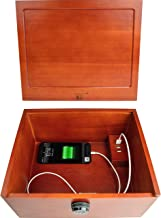 Multi Device Charging Box with Lock - Locking Cell Phone Charging Station Wooden Stash Box with Lock Large Safe Box with USB Charger Wood Stash Boxes