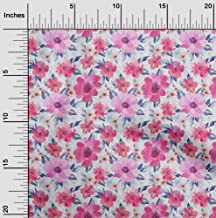 oneOone Velvet Light Pink Fabric Leaves & Watercolor Flower Floral Quilting Supplies Print Sewing Fabric by The Yard 58 In...