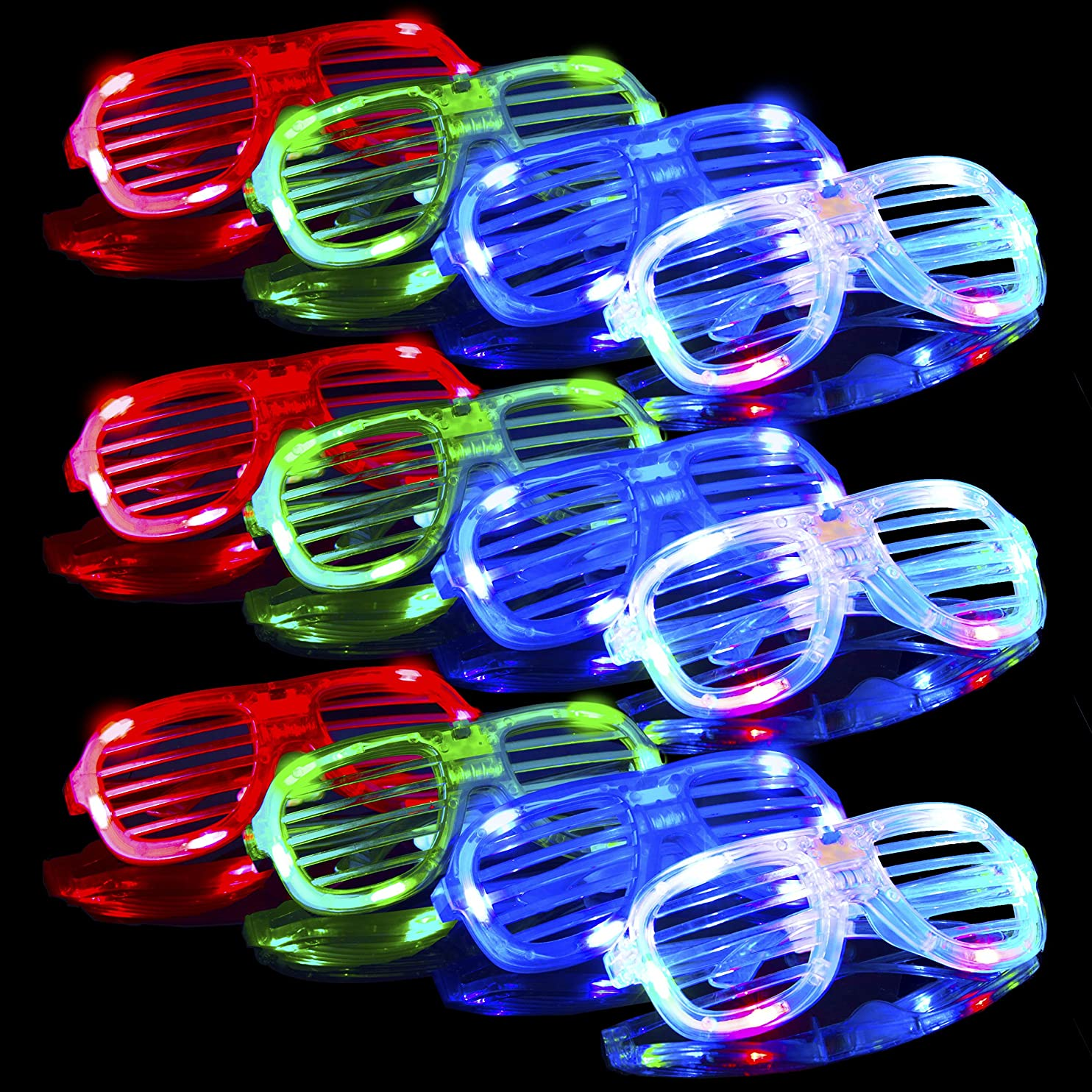Glow in The Dark LED Glasses – Bulk Light Up Glasses, Neon Party Supplies Party Favors, LED Sunglasses Shutter Shades Accessories (12pk) twdnhiqvdys21