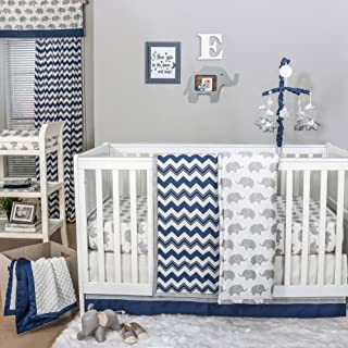 Eli Navy Chevron/Grey Elephant Baby Crib Bedding - 11 Piece Sleep Essentials Set
