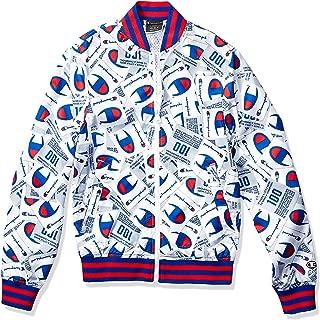 Champion LIFE Mens V1941P- Satin Baseball Jacket - All Over Print Jacket - White