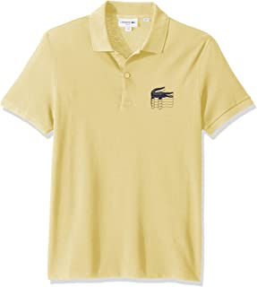 Lacoste Men's S/S Graphic Croc Petit Pique Polo Slim FIT Shirt, NAPOLITAN Yellow, 3XL
