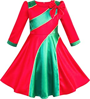Sunny Fashion Girls Dress Christmas Xmas Red Green New Year Party Size 6-12 Years