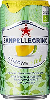 Sanpellegrino Limone+tea Organic Sparkling Lemon Tea Cans, 250ml (Pack of 6)