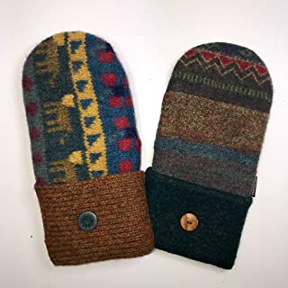 product image for Baabaazuzu Red, Blue, Green & Yellow Uniquely Patterned Women's Upcycled Wool Sweater Mittens (Made in USA, Fleece Lined)