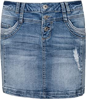 Sublevel Women's Jeans Mini Skirt with Buttons in Used Look