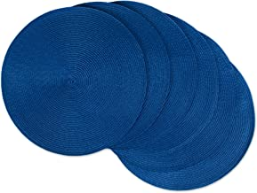 DII Round Braided/Woven, Indoor/Outdoor Placemat/Charger, Set of 6, Nautical Blue