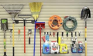HandiWall Basic Accessory Kit With 21 Hooks, Baskets, and Shelves for Garage Slatwall Panels