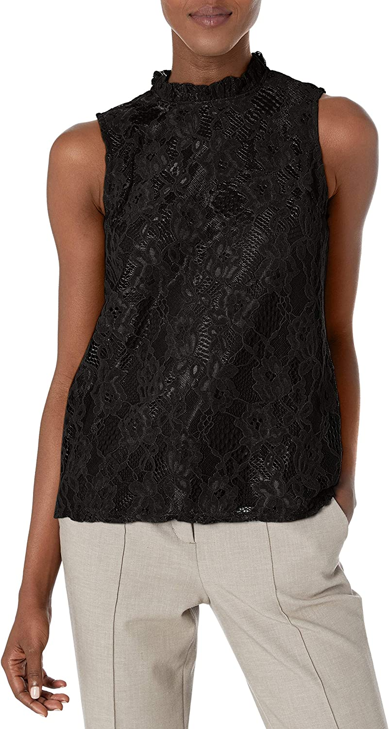 Nanette Lepore Women's Recommended Sleevelss Lace Mail order Ruff with Top Neck