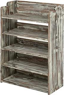 MyGift 5 Tier Rustic Torched Wood Entryway Shoe Rack Storage Shelves, Closet Organizer Shelf