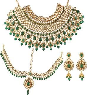 Traditional Gold Plated Kundan Pearl Wedding Choker Necklace Set Earrings & Matha Patti for Women (IJ327G)