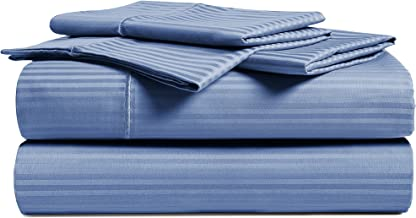 CHATEAU HOME COLLECTION Luxury Combed Cotton 500 Thread Count Damask Stripe 4 Piece Sheet Set, Great Deal - Lowest Prices, Queen Blue unknown