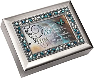 Image of Jeweled I Can Do All Things Through Him Christian Music Box