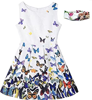 VOGUEON Girls Floral Butterfly Print Summer Dress Sleeveless Princess Costume Casual Sundress for Kids with Headband
