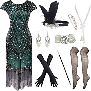 1920s Great Gatsby Fringed Flapper Dress with 20s Accessories Set