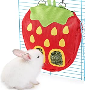JanYoo Rabbit Hay Feeder Bag for Cage Guinea Pig Accessories Hay Dispenser Storage Manger Hanging Large Less Waste for Bunny