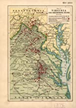 Map Poster - Map of Virginia and neighboring States Showing The Location of Battles in The Civil War 1861-1865. 24 X 17