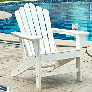 Ehomeline Classic Outdoor Adirondack Chair for Garden Porch Patio Deck Backyard, Weather Resistant Accent Furniture, White