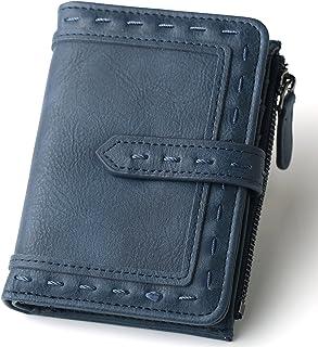 محافظ نسائية جلدية مزدوجة الطي صغيرة المظهر مع جيب للعملات المعدنية