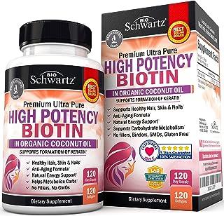 BioSchwartz Biotin Supplement 10000mcg with Organic Coconut Oil, 120 Count