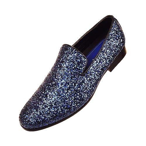 Amali Mens Metallic Sparkling Glitter Tuxedo Slip On Smoking Slipper Dress  Shoe 80f437851