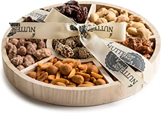 The Nuttery Father's Day Wooden 6 Section Gift Sharing Round Nut Serving Tray (Small 6 Sectional Tray)