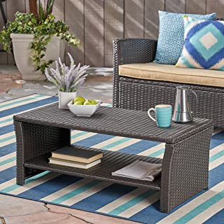 Christopher Knight Home Justin Outdoor Wicker Coffee Table, Brown, Black