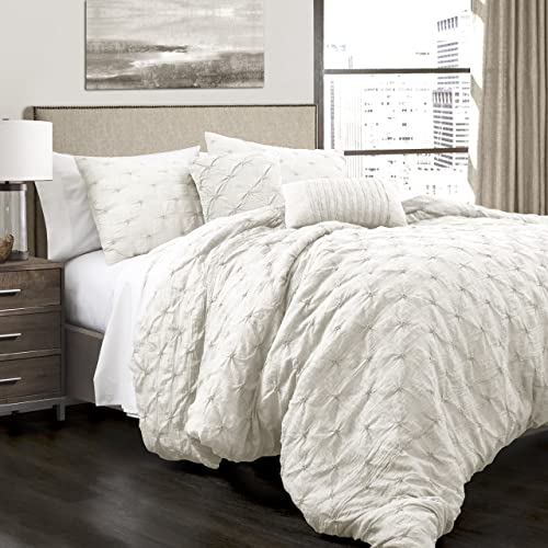 BEAUTIFUL MODERN CHIC ELEGANT PINK PINTUCK TUFTED RUFFLE TEXTURE COMFORTER SET