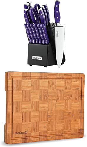 """2021 McCook MC27 Stainless Steel Knife Block Sets with Built-in Sharpener + MCW12 sale Bamboo wholesale Cutting Board (Large, 17""""x12""""x1"""") outlet sale"""