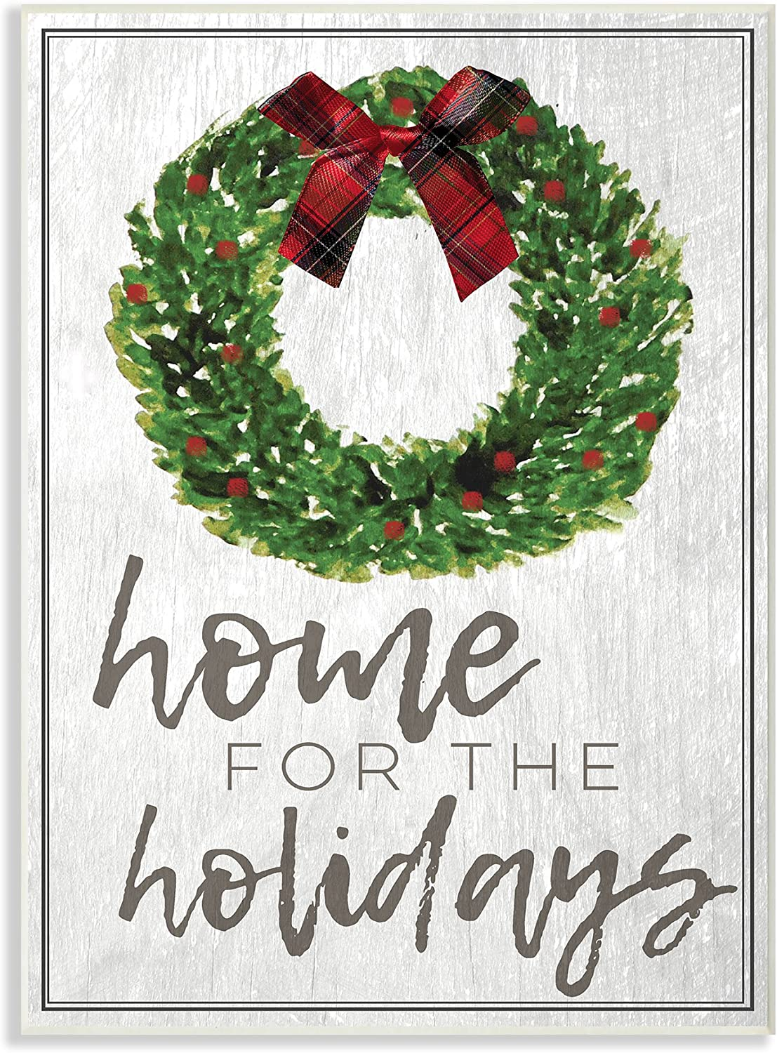 Stupell Industries Home for the Holidays Wreath Bow Christmas Oversized Wall Plaque Art, Proudly Made in USA
