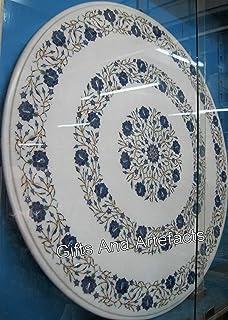 Mesa de café de mármol blanco de 35 pulgadas con incrustaciones de piedras preciosas de lapislázuli para añadir un aspecto...