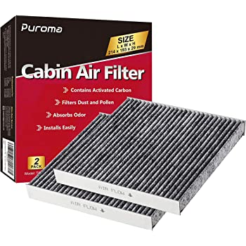 Puroma Cabin Air Filter with Activated Carbon, Replacement for CP285, CF10285, Toyota, Lexus, Scion (2 pcs)