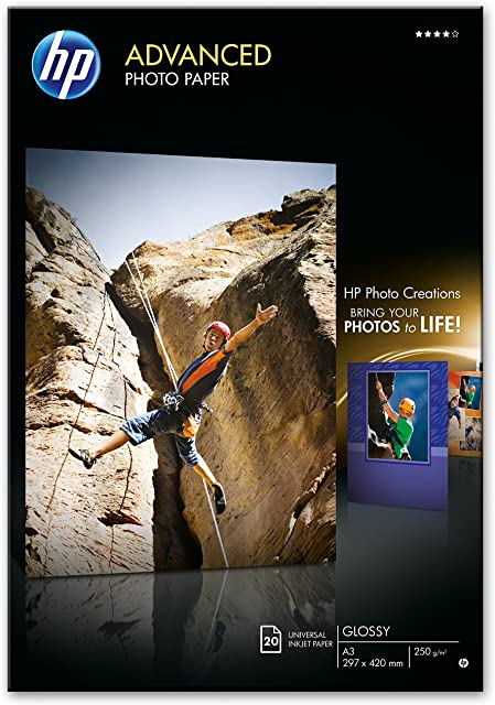 HP Advanced Q8697A - Papel fotográfico con brillo (20 hojas A3)