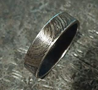 Black Handmade Mens Forged Oxidized Ring Band for Men