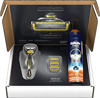 Gillette Fusion ProShield Bundle with 1 Razor Handle with Flexball Technology + 4 Razor Blade Refills + 1 Ocean Breeze Shave Gel, Mens Razors / Blades