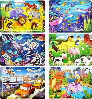 Puzzle en Bois Enfant, 6Pcs 60 Pièces Jouet Puzzle Enfant 3 4 5 6 Ans, Jouet Montessori Éducatif avec 6 Thèmes, Animaux Fe...