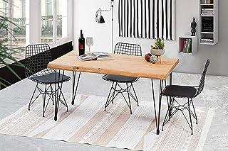 Gozos Berne Table à Manger Moderne avec Plateau en Bois Massif Brut d'Epicéa pour 4-6 Personnes│Table de Cuisine et de Sal...