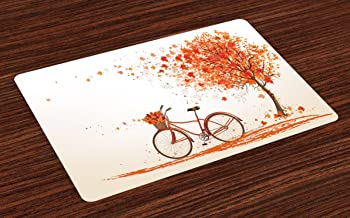 Ambesonne Bicycle Place Mats Set of 4, Autumn Tree with Aged Old Bike and Fall Tree November Day Fall Season Park Nature Theme, Washable Fabric Placemats for Dining Table, Standard Size, Orange