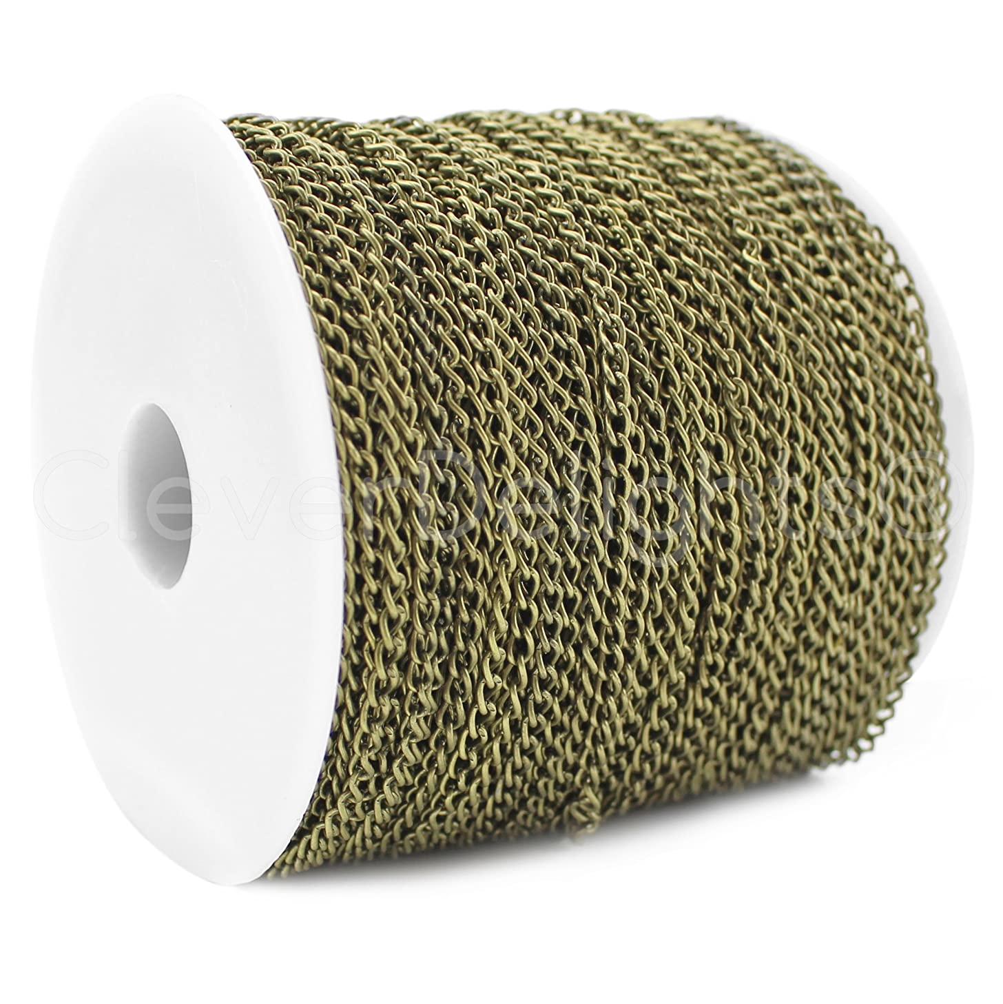 CleverDelights Curb Chain Spool - 3x5mm Link - Antique Bronze Color - 330 Feet - Bulk Jewelry Chain Roll