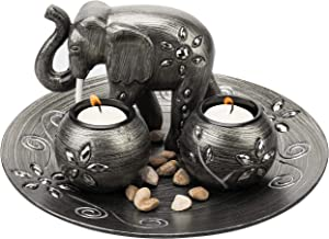 MyGift Decorative Gunmetal Grey Elephant & Tealight Candle Holder Plate