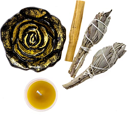 discount Premium Starter Kit wholesale with Rose dish, Palo Santo, California White Sage, outlet sale and Hand Poured Beeswax Votive sale